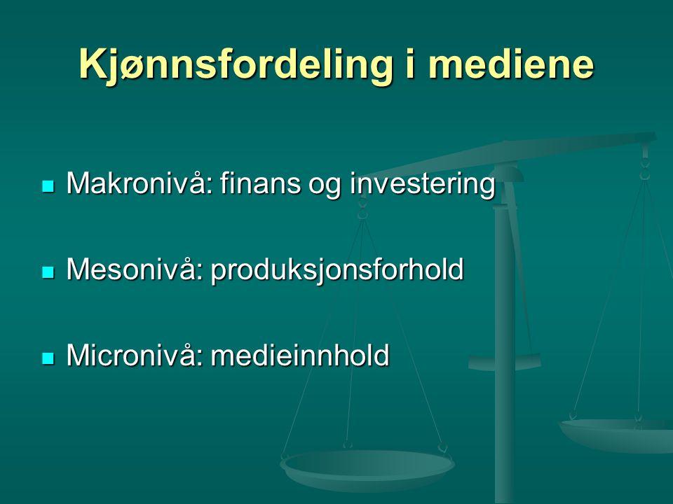 Kjønnsfordeling i mediene Makronivå: finans og investering Makronivå: finans og investering Mesonivå: produksjonsforhold Mesonivå: produksjonsforhold Micronivå: medieinnhold Micronivå: medieinnhold