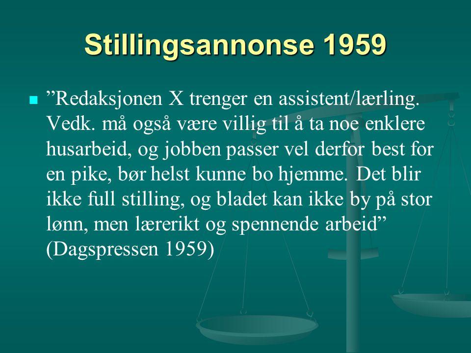 Stillingsannonse 1959 Redaksjonen X trenger en assistent/lærling.