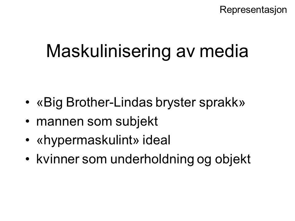 Maskulinisering av media «Big Brother-Lindas bryster sprakk» mannen som subjekt «hypermaskulint» ideal kvinner som underholdning og objekt Representas