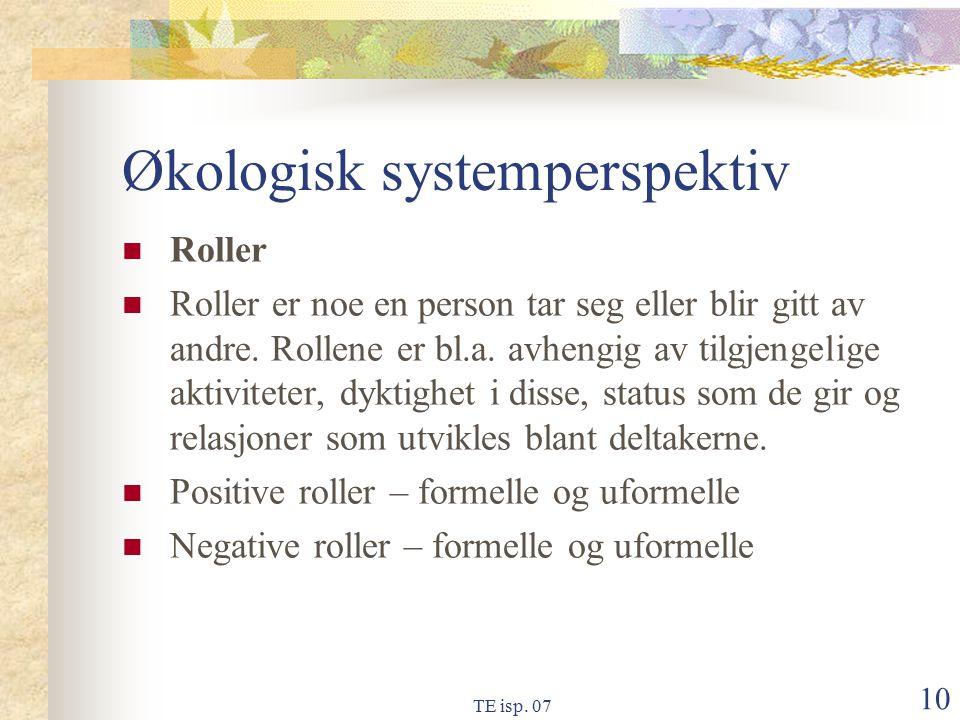 TE isp. 07 10 Økologisk systemperspektiv Roller Roller er noe en person tar seg eller blir gitt av andre. Rollene er bl.a. avhengig av tilgjengelige a