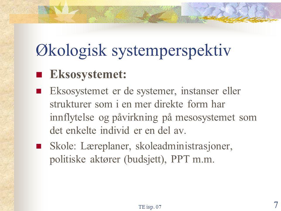 TE isp. 07 7 Økologisk systemperspektiv Eksosystemet: Eksosystemet er de systemer, instanser eller strukturer som i en mer direkte form har innflytels