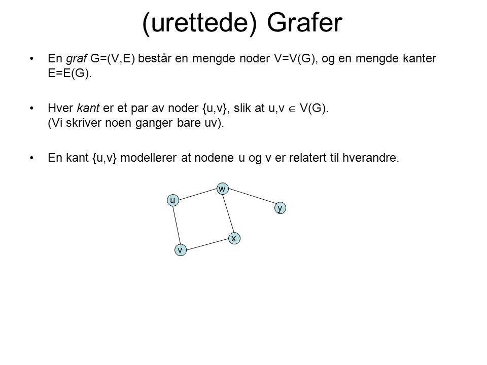 En graf G=(V,E) består en mengde noder V=V(G), og en mengde kanter E=E(G). Hver kant er et par av noder {u,v}, slik at u,v  V(G). (Vi skriver noen ga