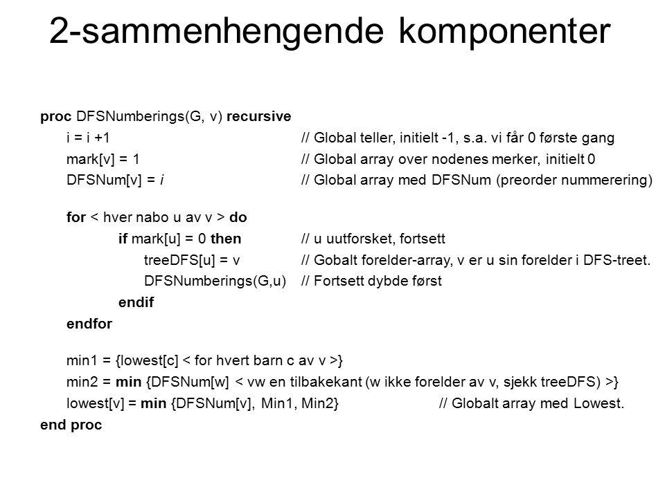 proc DFSNumberings(G, v) recursive i = i +1// Global teller, initielt -1, s.a. vi får 0 første gang mark[v] = 1// Global array over nodenes merker, in