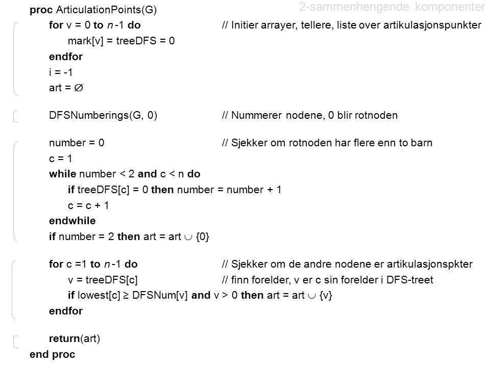 2-sammenhengende komponenter proc ArticulationPoints(G) for v = 0 to n -1 do // Initier arrayer, tellere, liste over artikulasjonspunkter mark[v] = tr
