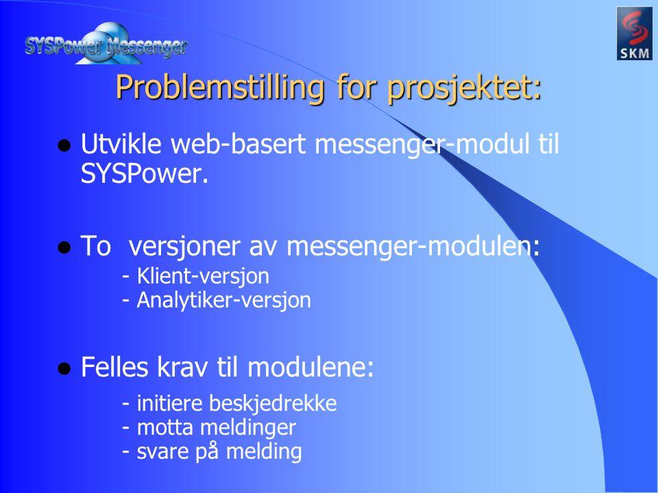 Klientversjon: - enkel og rask i bruk - ta liten plass Analytikerversjon: - kunne velge mottaker(e) - vise meldingsstatus for mottatte meldinger Problemstilling for prosjektet: