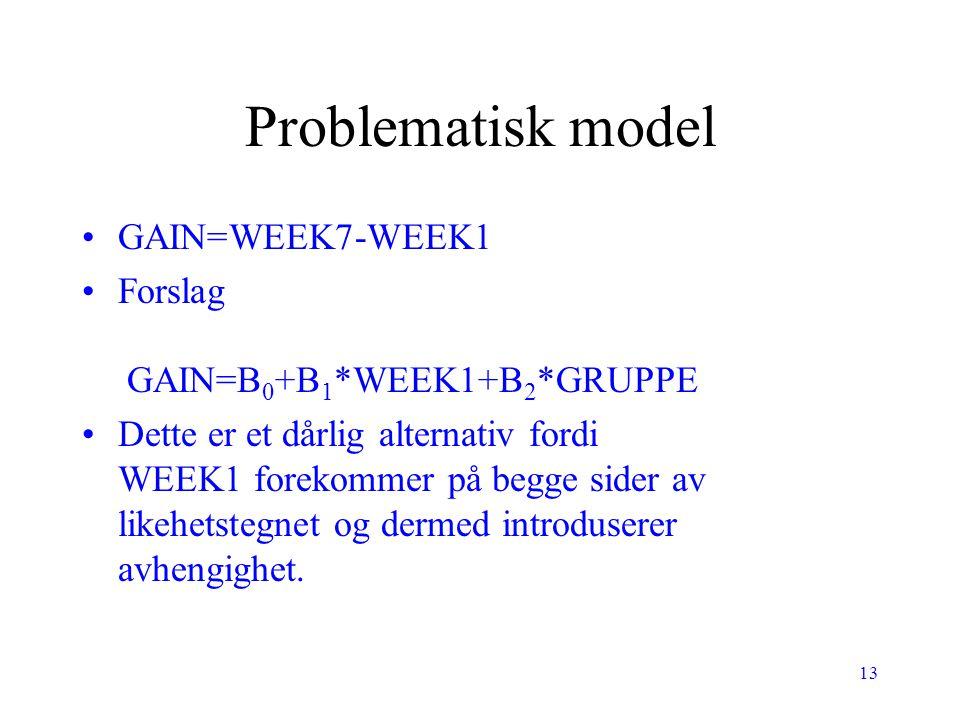 13 Problematisk model GAIN=WEEK7-WEEK1 Forslag GAIN=B 0 +B 1 *WEEK1+B 2 *GRUPPE Dette er et dårlig alternativ fordi WEEK1 forekommer på begge sider av
