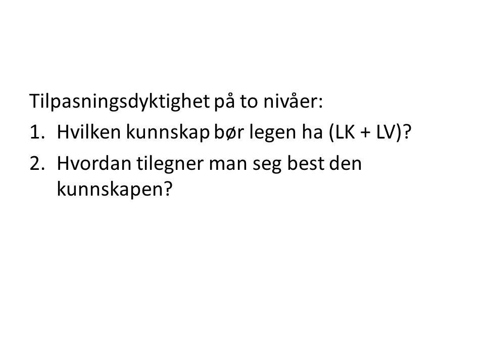 Tilpasningsdyktighet på to nivåer: 1.Hvilken kunnskap bør legen ha (LK + LV).