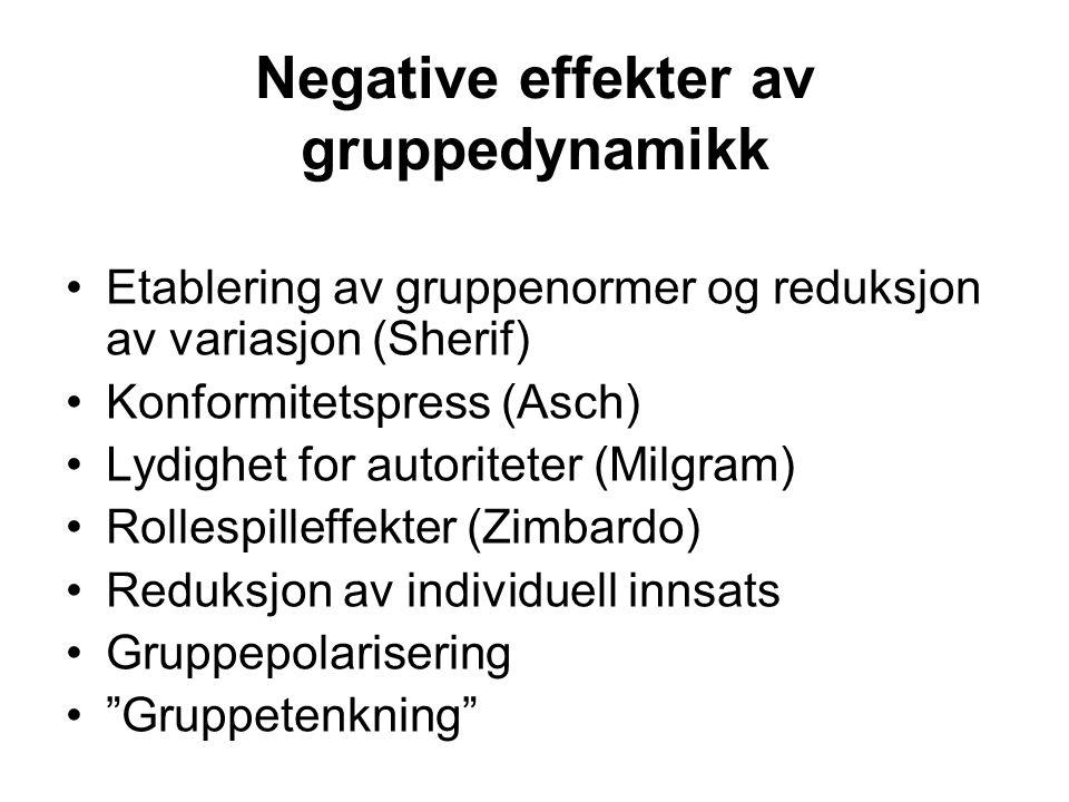 Negative effekter av gruppedynamikk Etablering av gruppenormer og reduksjon av variasjon (Sherif) Konformitetspress (Asch) Lydighet for autoriteter (M