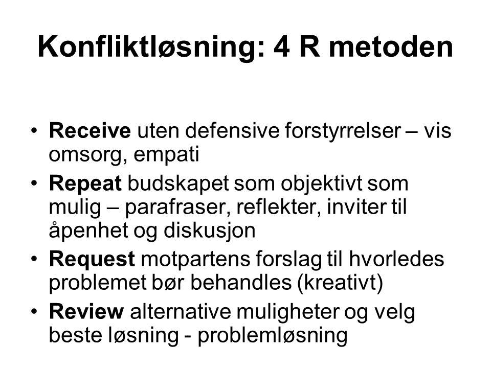 Konfliktløsning: 4 R metoden Receive uten defensive forstyrrelser – vis omsorg, empati Repeat budskapet som objektivt som mulig – parafraser, reflekte