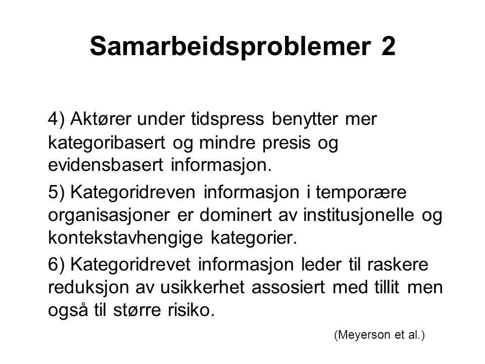 Samarbeidsproblemer 2 4) Aktører under tidspress benytter mer kategoribasert og mindre presis og evidensbasert informasjon. 5) Kategoridreven informas