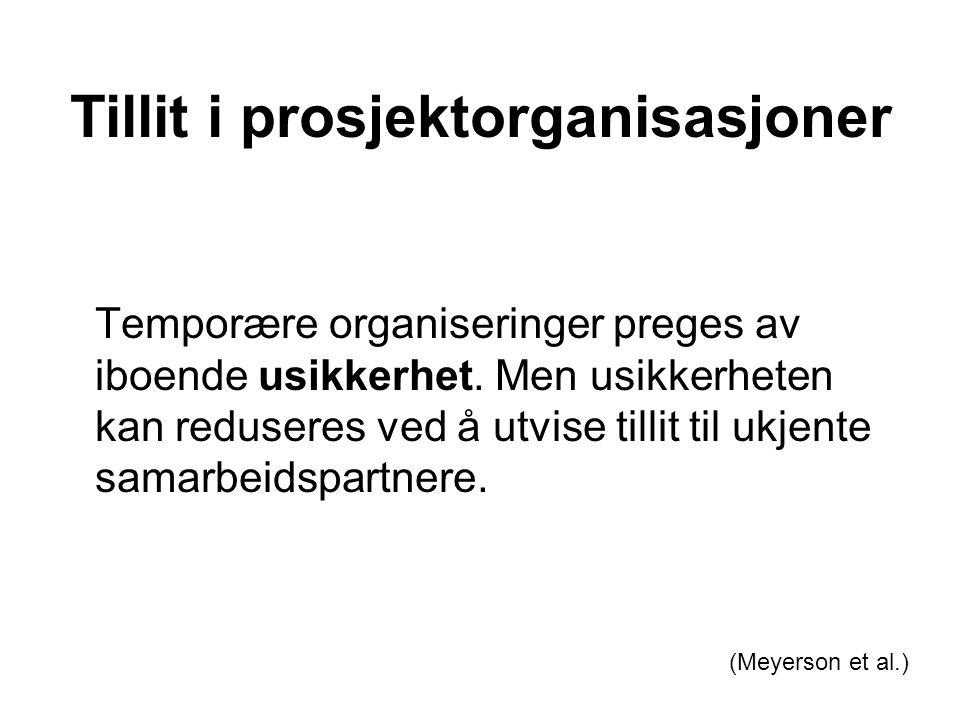 Tillit i prosjektorganisasjoner Temporære organiseringer preges av iboende usikkerhet. Men usikkerheten kan reduseres ved å utvise tillit til ukjente