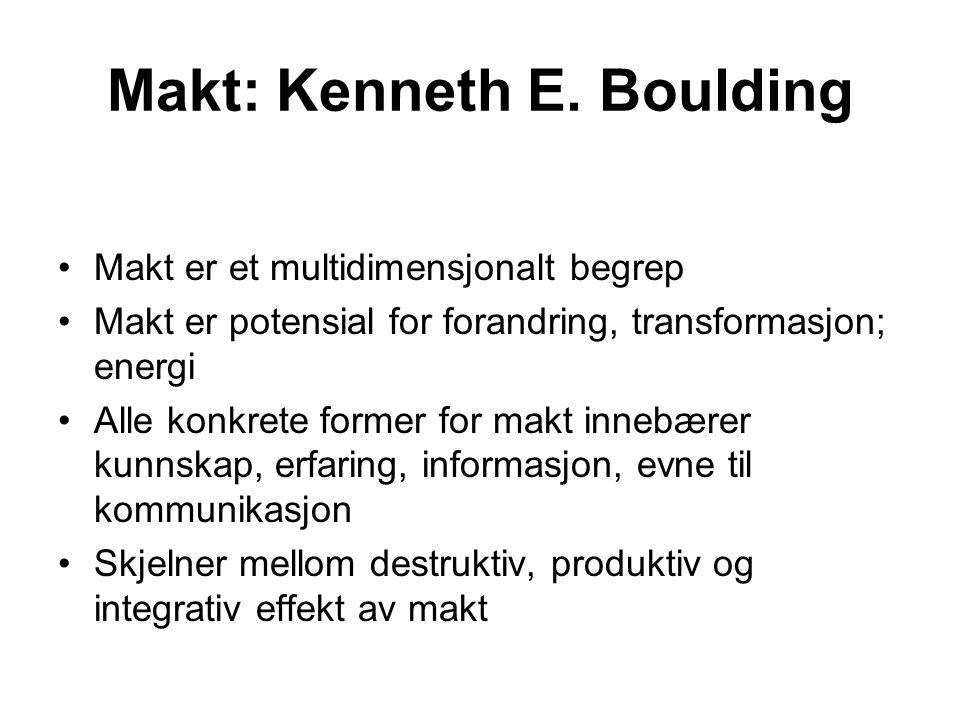 Makt: Kenneth E. Boulding Makt er et multidimensjonalt begrep Makt er potensial for forandring, transformasjon; energi Alle konkrete former for makt i