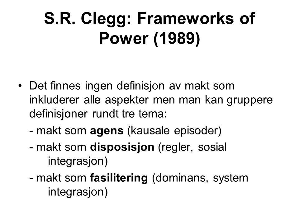 S.R. Clegg: Frameworks of Power (1989) Det finnes ingen definisjon av makt som inkluderer alle aspekter men man kan gruppere definisjoner rundt tre te