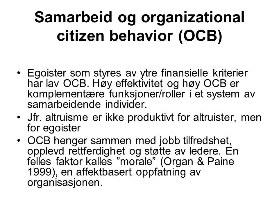Samarbeid og organizational citizen behavior (OCB) Egoister som styres av ytre finansielle kriterier har lav OCB. Høy effektivitet og høy OCB er kompl