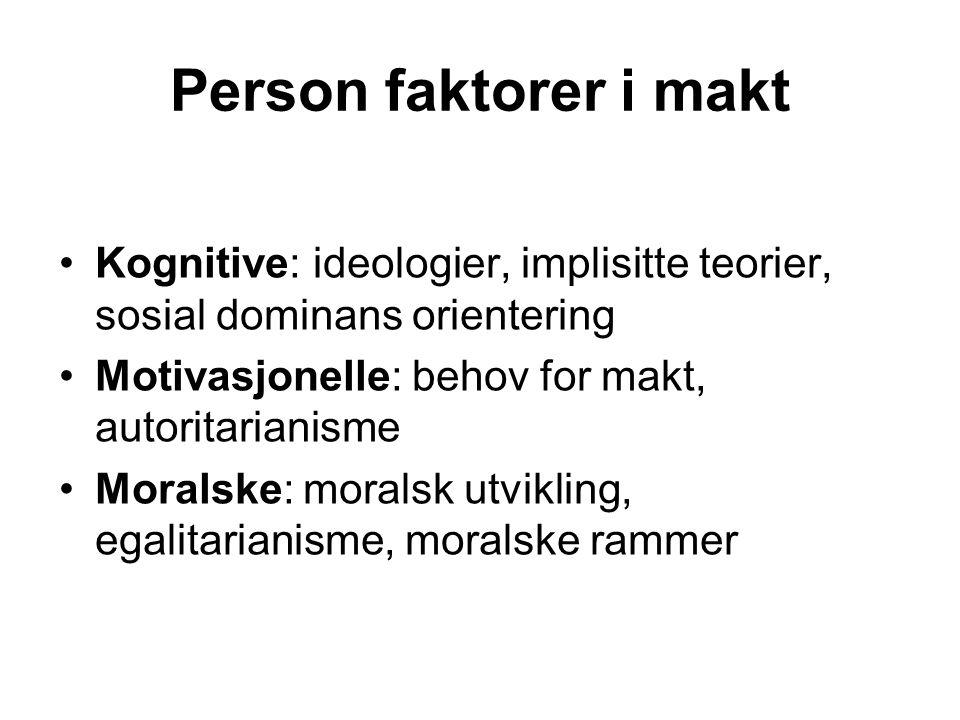 Person faktorer i makt Kognitive: ideologier, implisitte teorier, sosial dominans orientering Motivasjonelle: behov for makt, autoritarianisme Moralsk