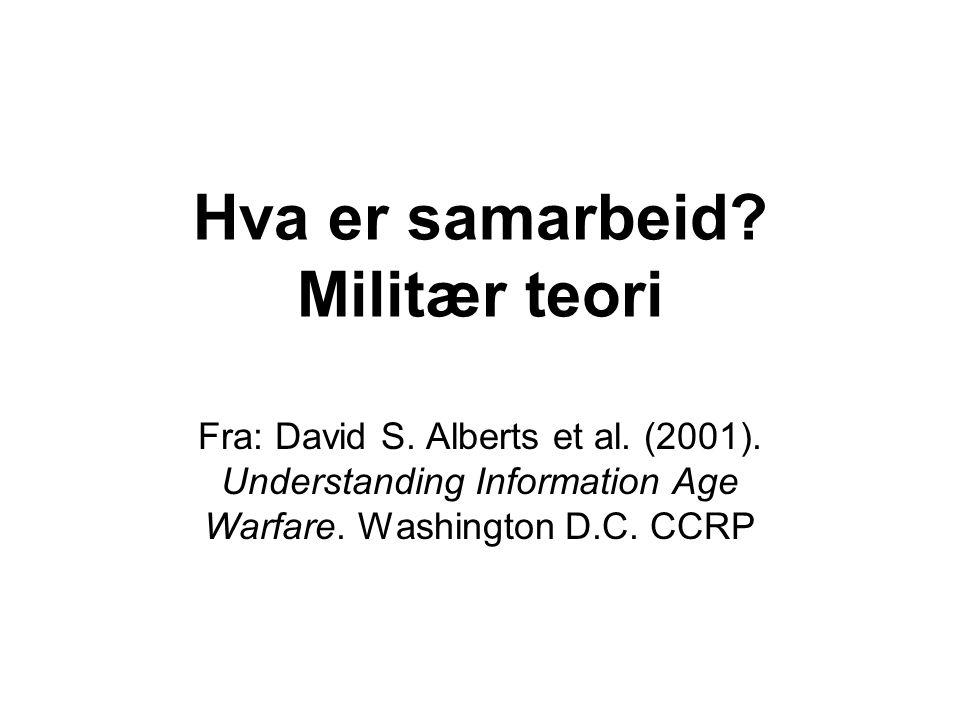 Hva er samarbeid? Militær teori Fra: David S. Alberts et al. (2001). Understanding Information Age Warfare. Washington D.C. CCRP