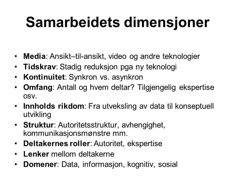 Samarbeidets dimensjoner Media: Ansikt–til-ansikt, video og andre teknologier Tidskrav: Stadig reduksjon pga ny teknologi Kontinuitet: Synkron vs. asy