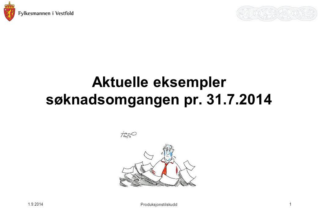 1.9.2014 Aktuelle eksempler søknadsomgangen pr. 31.7.2014 1 Produksjonstilskudd