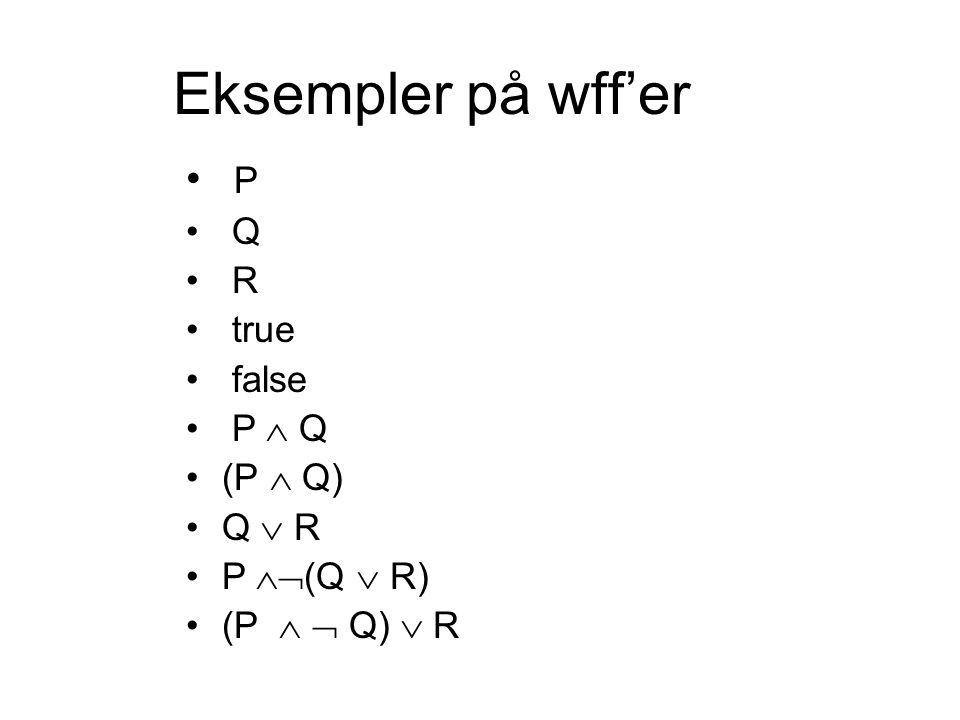 Eksempler på wff'er P Q R true false P  Q (P  Q) Q  R P  (Q  R) (P   Q)  R