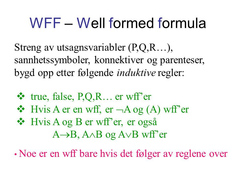 WFF – Well formed formula Streng av utsagnsvariabler (P,Q,R…), sannhetssymboler, konnektiver og parenteser, bygd opp etter følgende induktive regler: Noe er en wff bare hvis det følger av reglene over  true, false, P,Q,R… er wff'er  Hvis A er en wff, er  A og (A) wff'er  Hvis A og B er wff'er, er også A  B, A  B og A  B wff'er