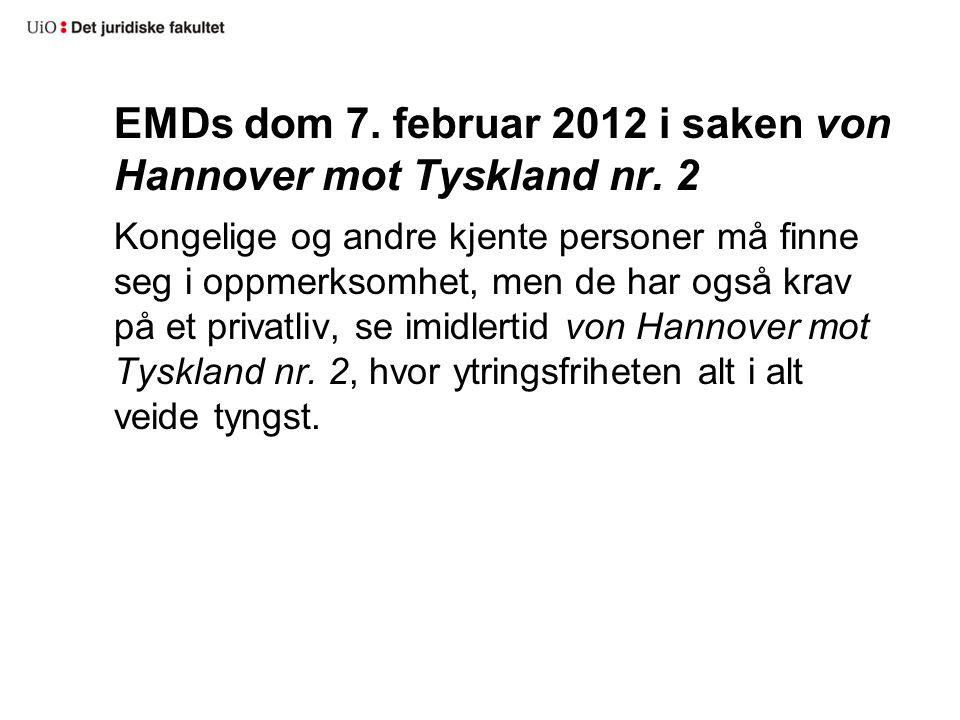 EMDs dom 7.februar 2012 i saken von Hannover mot Tyskland nr.