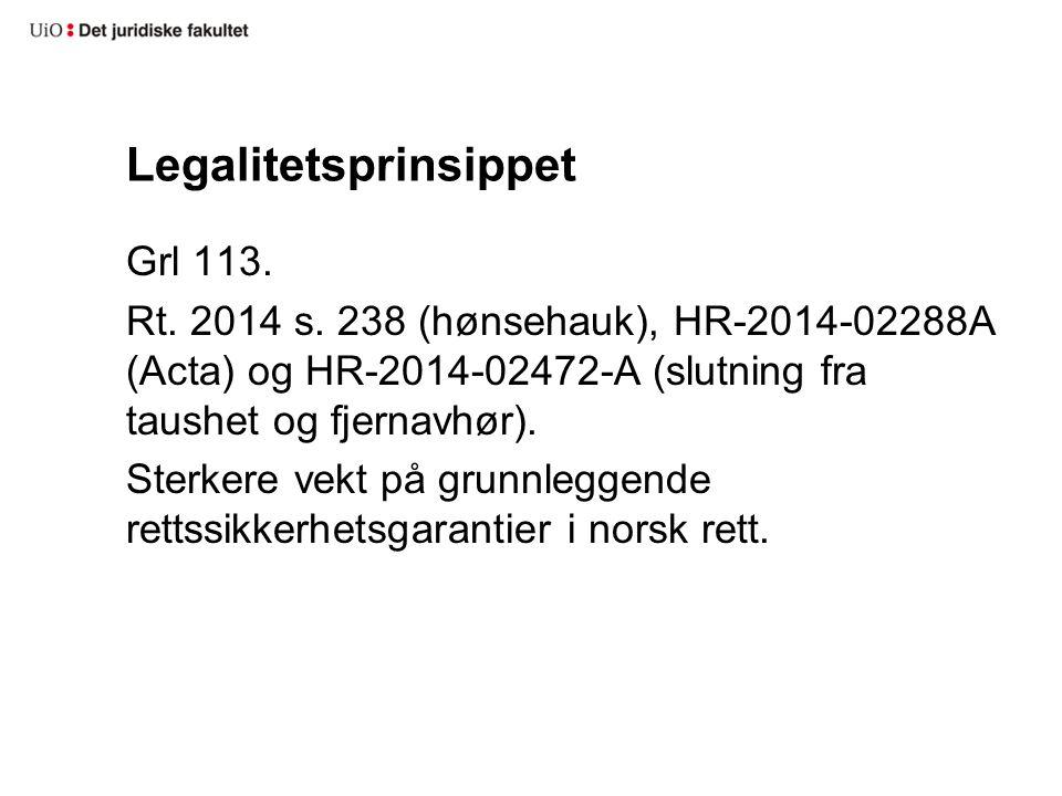 Legalitetsprinsippet Grl 113.Rt. 2014 s.