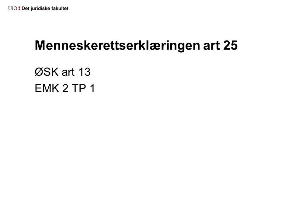 Menneskerettserklæringen art 25 ØSK art 13 EMK 2 TP 1