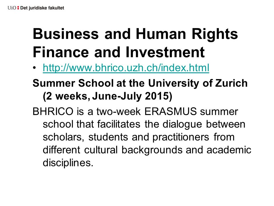 Business and Human Rights Finance and Investment http://www.bhrico.uzh.ch/index.html Summer School at the University of Zurich (2 weeks, June-July 2015) BHRICO is a two-week ERASMUS summer school that facilitates the dialogue between scholars, students and practitioners from different cultural backgrounds and academic disciplines.