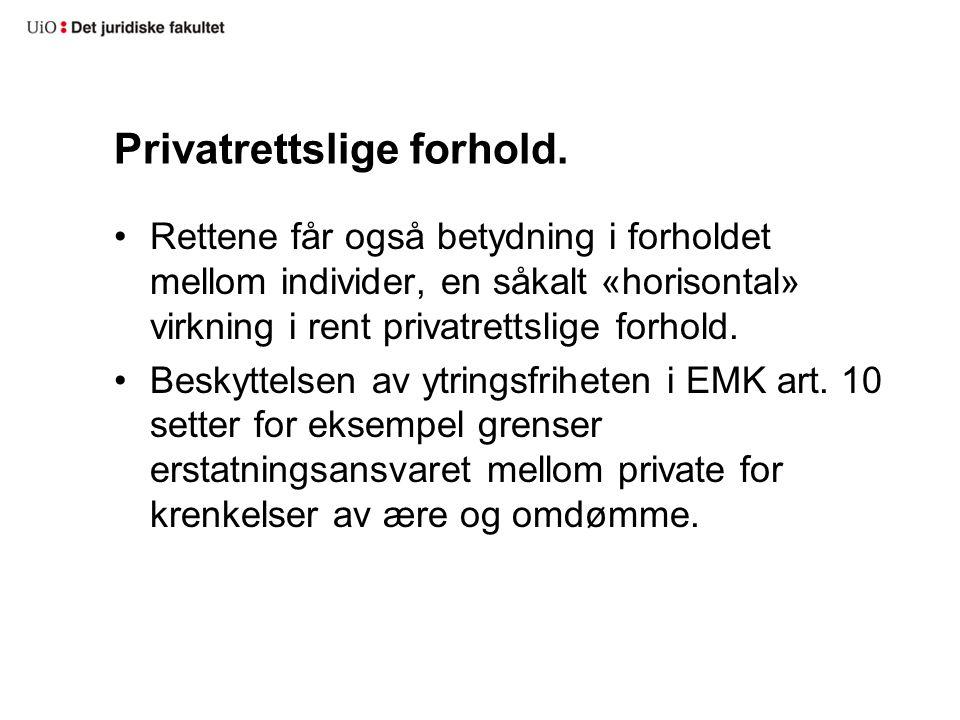 Privatrettslige forhold.