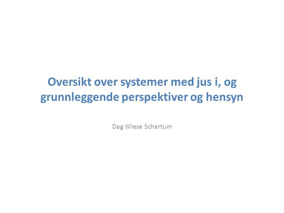 Oversikt over systemer med jus i, og grunnleggende perspektiver og hensyn Dag Wiese Schartum