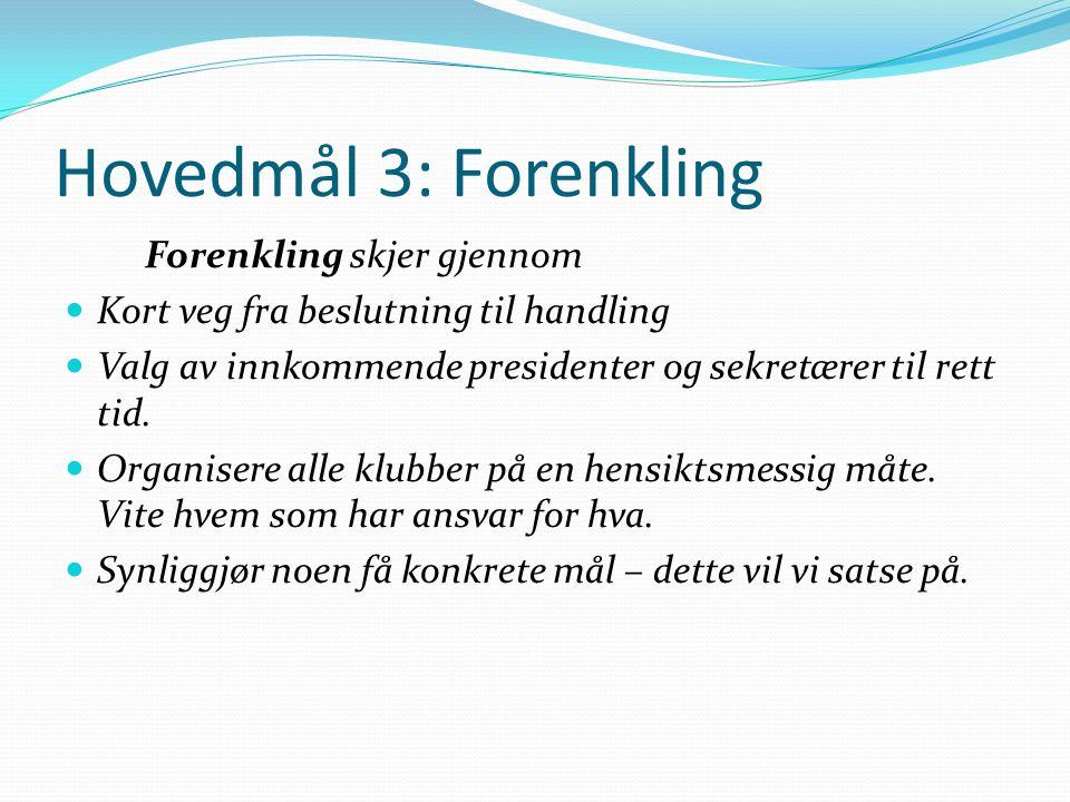 Hovedmål 3: Forenkling Forenkling skjer gjennom Kort veg fra beslutning til handling Valg av innkommende presidenter og sekretærer til rett tid.
