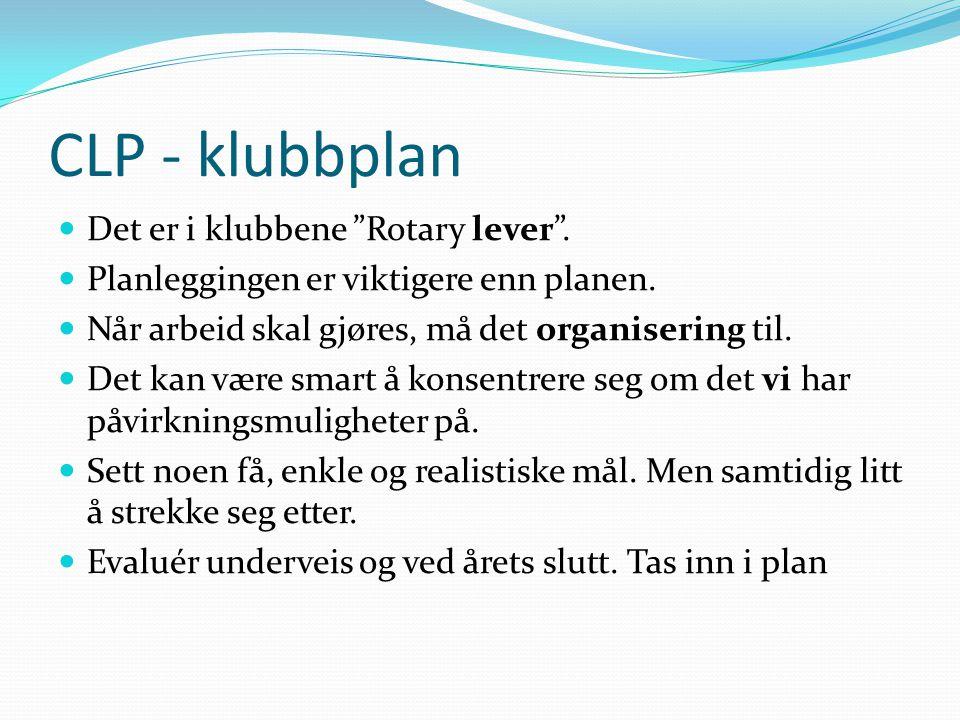 """CLP - klubbplan Det er i klubbene """"Rotary lever"""". Planleggingen er viktigere enn planen. Når arbeid skal gjøres, må det organisering til. Det kan være"""