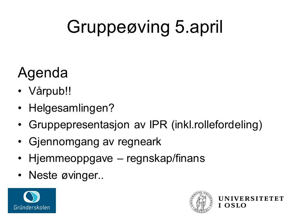 Gruppeøving 5.april Agenda Vårpub!. Helgesamlingen.