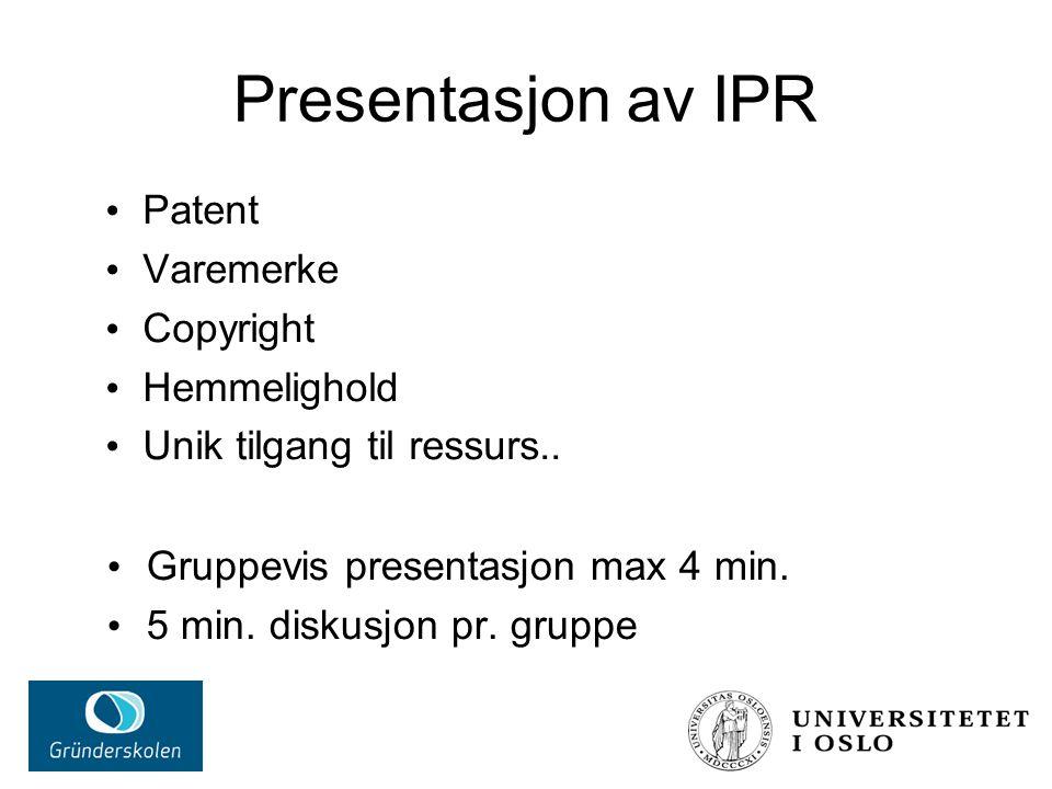 Presentasjon av IPR Patent Varemerke Copyright Hemmelighold Unik tilgang til ressurs..