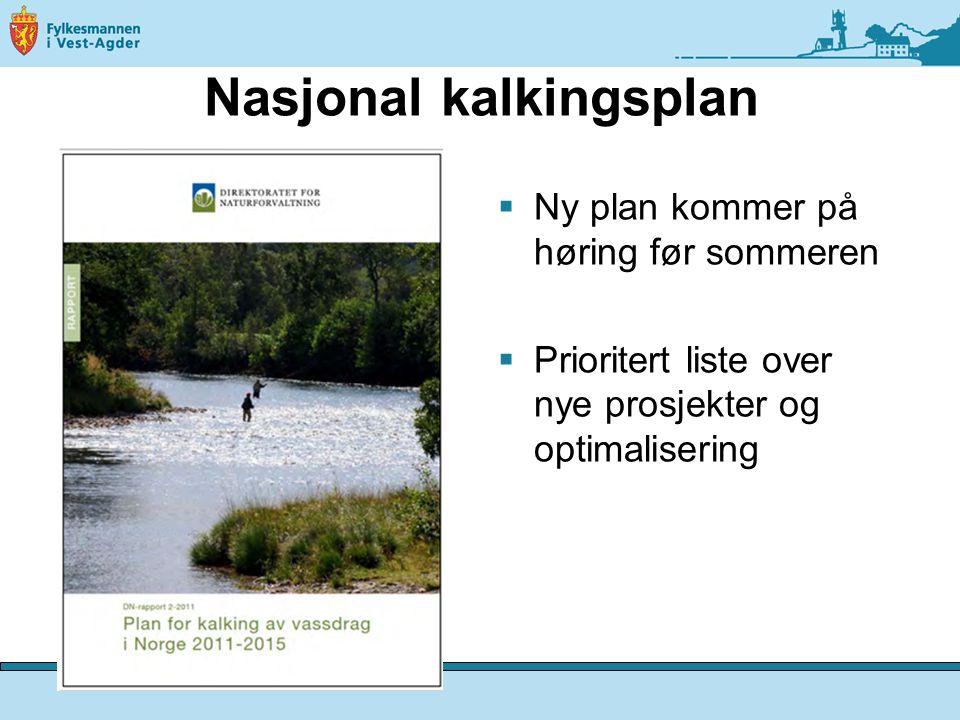Nasjonal kalkingsplan  Ny plan kommer på høring før sommeren  Prioritert liste over nye prosjekter og optimalisering