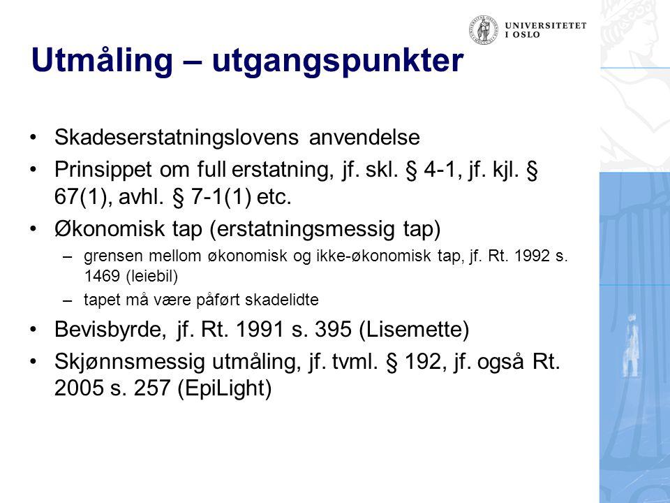 Utmåling – utgangspunkter Skadeserstatningslovens anvendelse Prinsippet om full erstatning, jf.