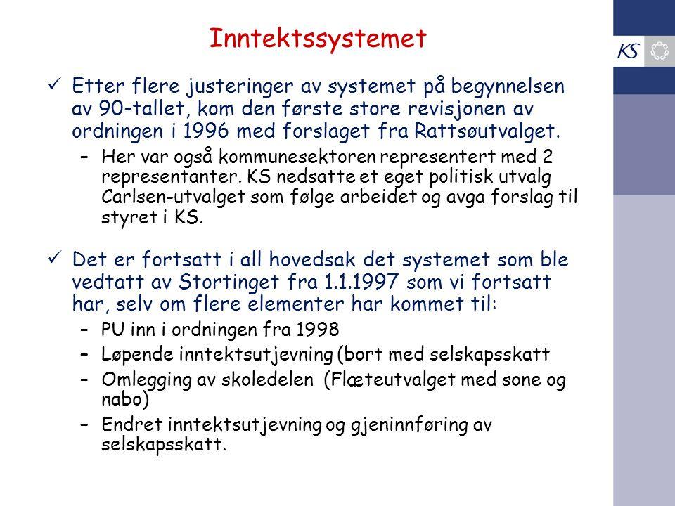 Inntektssystemet Etter flere justeringer av systemet på begynnelsen av 90-tallet, kom den første store revisjonen av ordningen i 1996 med forslaget fra Rattsøutvalget.