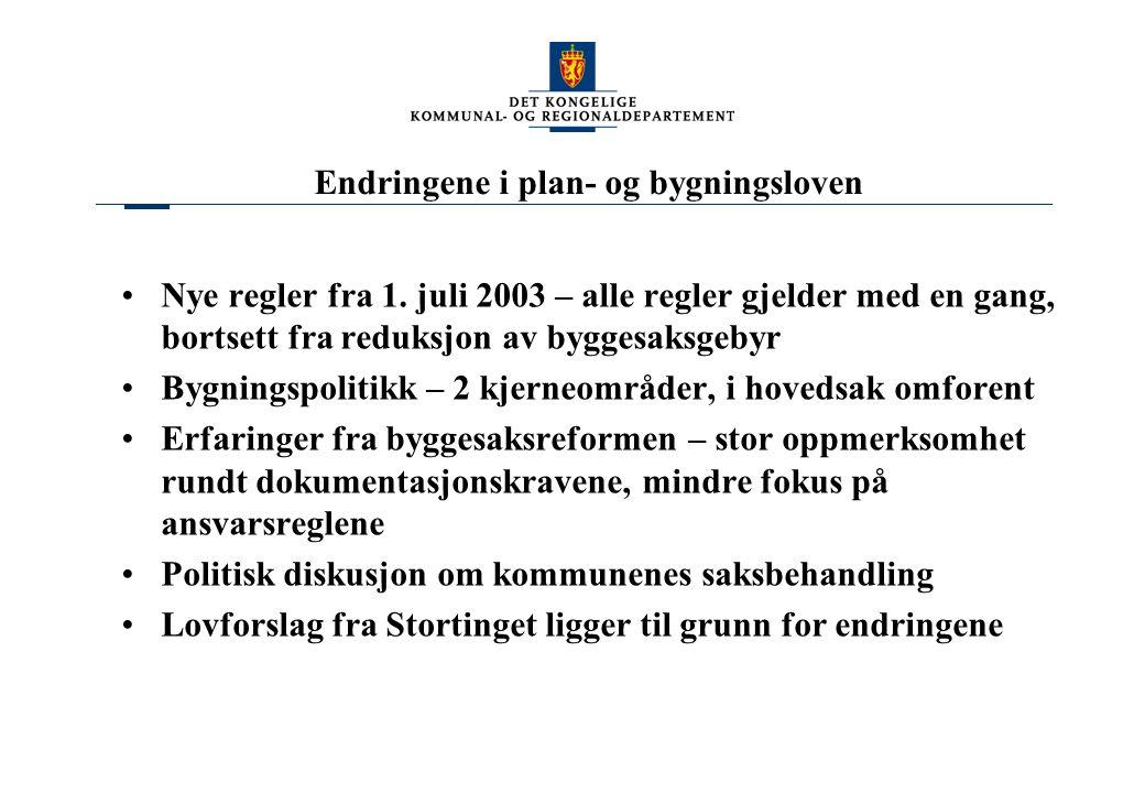 Endringene i plan- og bygningsloven Nye regler fra 1.