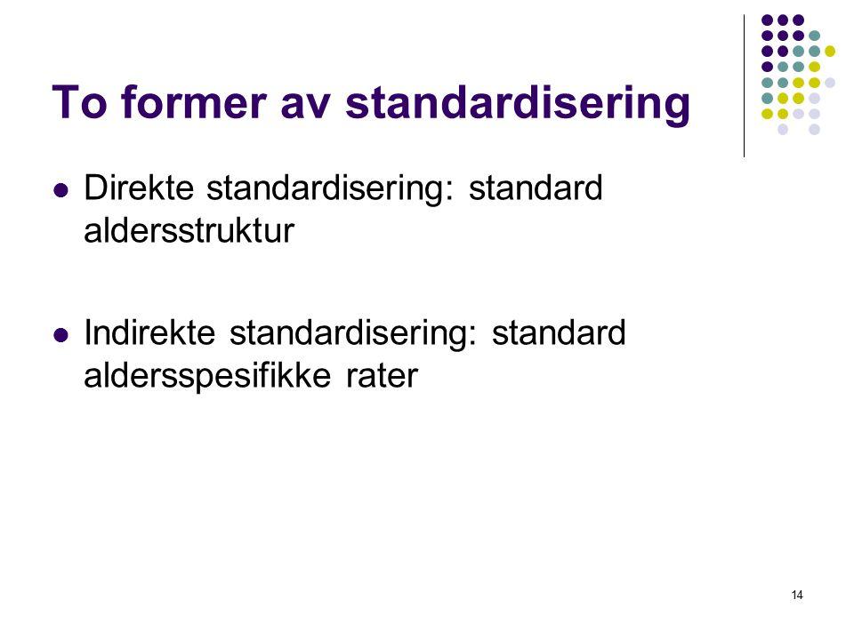 14 To former av standardisering Direkte standardisering: standard aldersstruktur Indirekte standardisering: standard aldersspesifikke rater