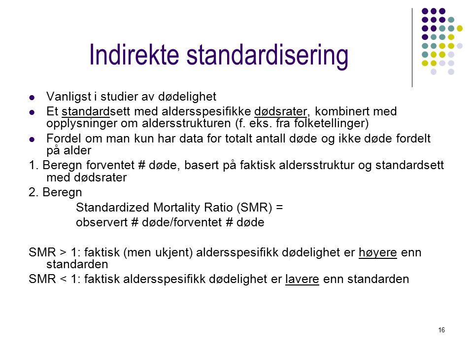 16 Indirekte standardisering Vanligst i studier av dødelighet Et standardsett med aldersspesifikke dødsrater, kombinert med opplysninger om aldersstrukturen (f.