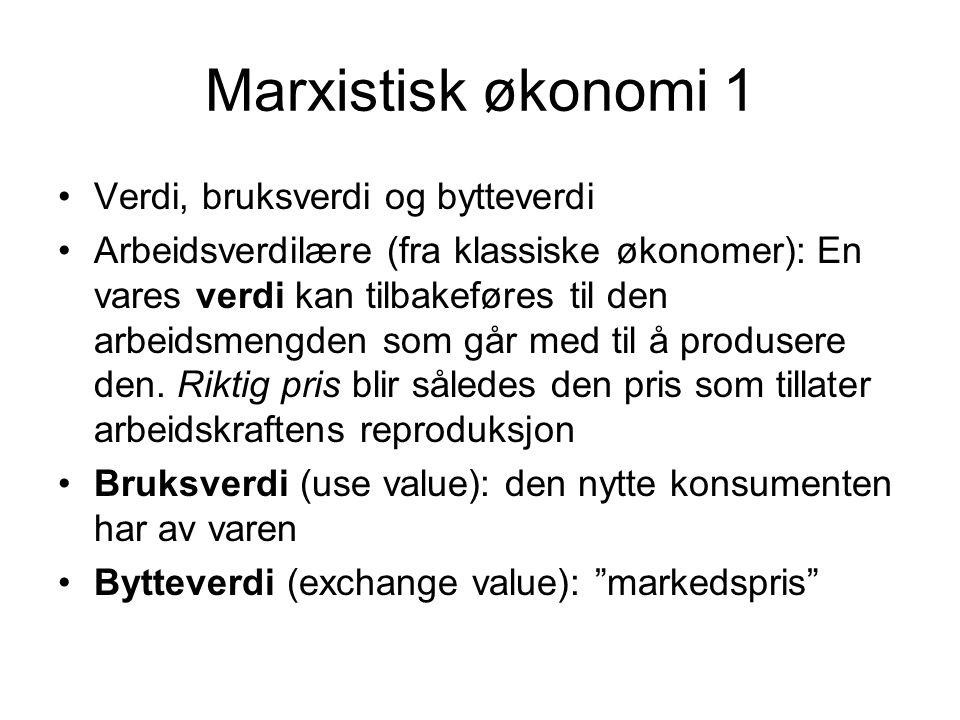 Marxistisk økonomi 2 Når bytteverdien overgår verdien (når markedsprisen overgår produksjonskostnadene) akkumuleres profitt, som igjen må settes i sirkulasjon for å finne sin valorisering En kapitalistisk økonomi er altså ikke en videreføring av varebytte der penger brukes som mellomfaktor (C-M-C) Men at kapital pløyes ned i vareproduksjon for med det formål å generere profitt (M-C-M')