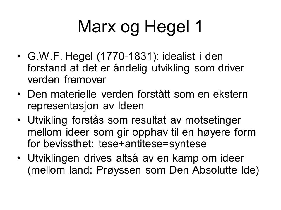 Marx og Hegel 1 G.W.F.