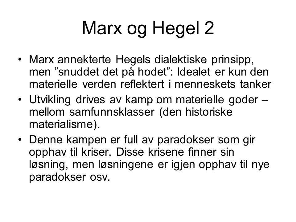 Marx og Hegel 2 Marx annekterte Hegels dialektiske prinsipp, men snuddet det på hodet : Idealet er kun den materielle verden reflektert i menneskets tanker Utvikling drives av kamp om materielle goder – mellom samfunnsklasser (den historiske materialisme).