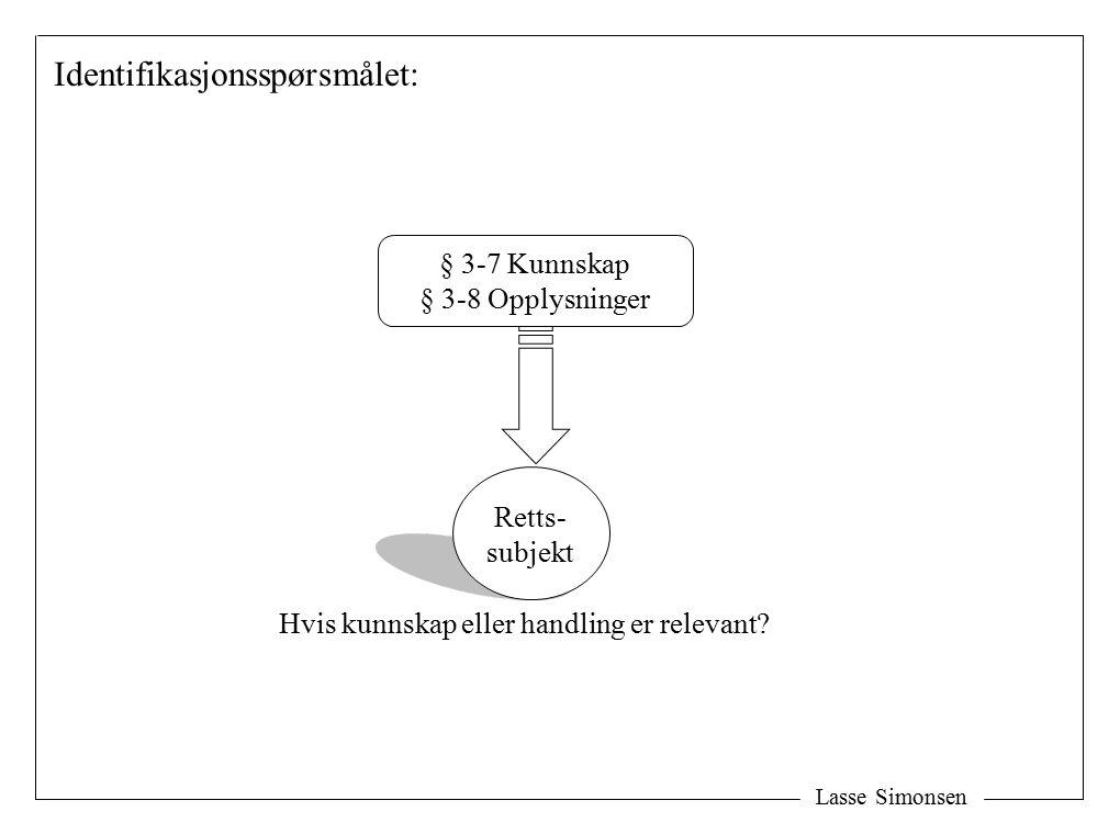 Lasse Simonsen Retts- subjekt § 3-7 Kunnskap § 3-8 Opplysninger Hvis kunnskap eller handling er relevant? Identifikasjonsspørsmålet: