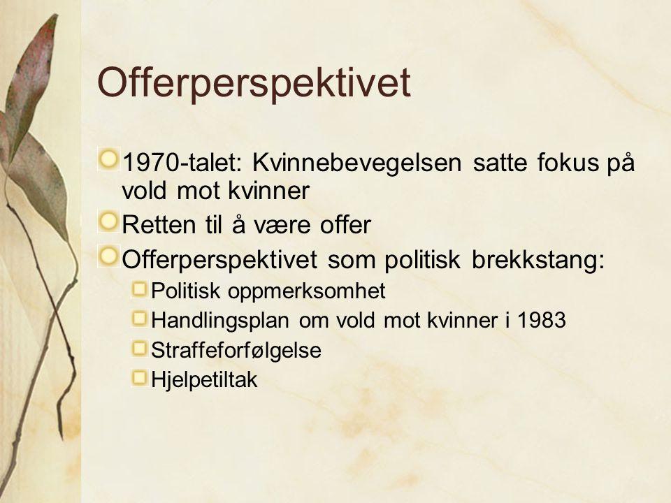 Offerperspektivet 1970-talet: Kvinnebevegelsen satte fokus på vold mot kvinner Retten til å være offer Offerperspektivet som politisk brekkstang: Poli