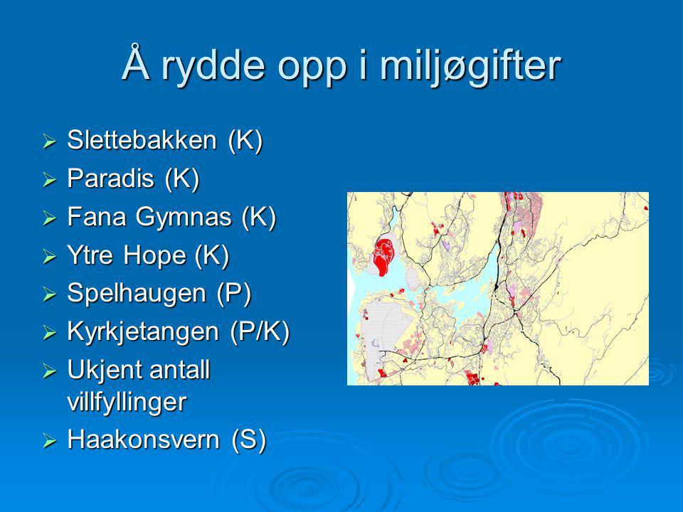 Å rydde opp i miljøgifter  Slettebakken (K)  Paradis (K)  Fana Gymnas (K)  Ytre Hope (K)  Spelhaugen (P)  Kyrkjetangen (P/K)  Ukjent antall vil