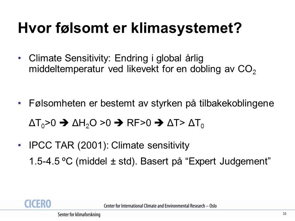 38 Hvor følsomt er klimasystemet? Climate Sensitivity: Endring i global årlig middeltemperatur ved likevekt for en dobling av CO 2 Følsomheten er best