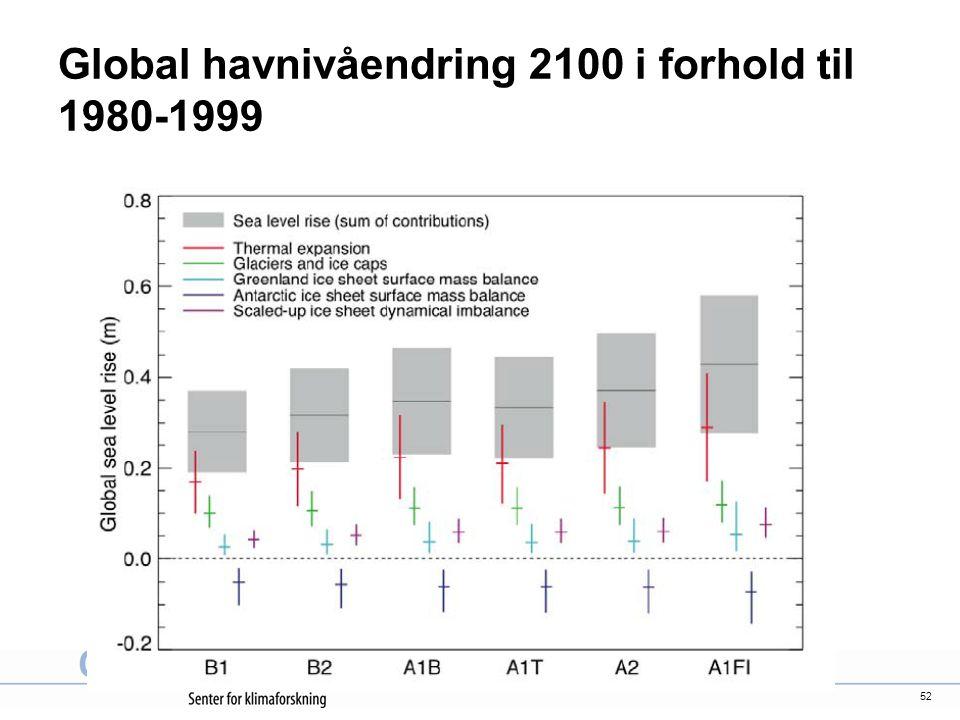 52 Global havnivåendring 2100 i forhold til 1980-1999