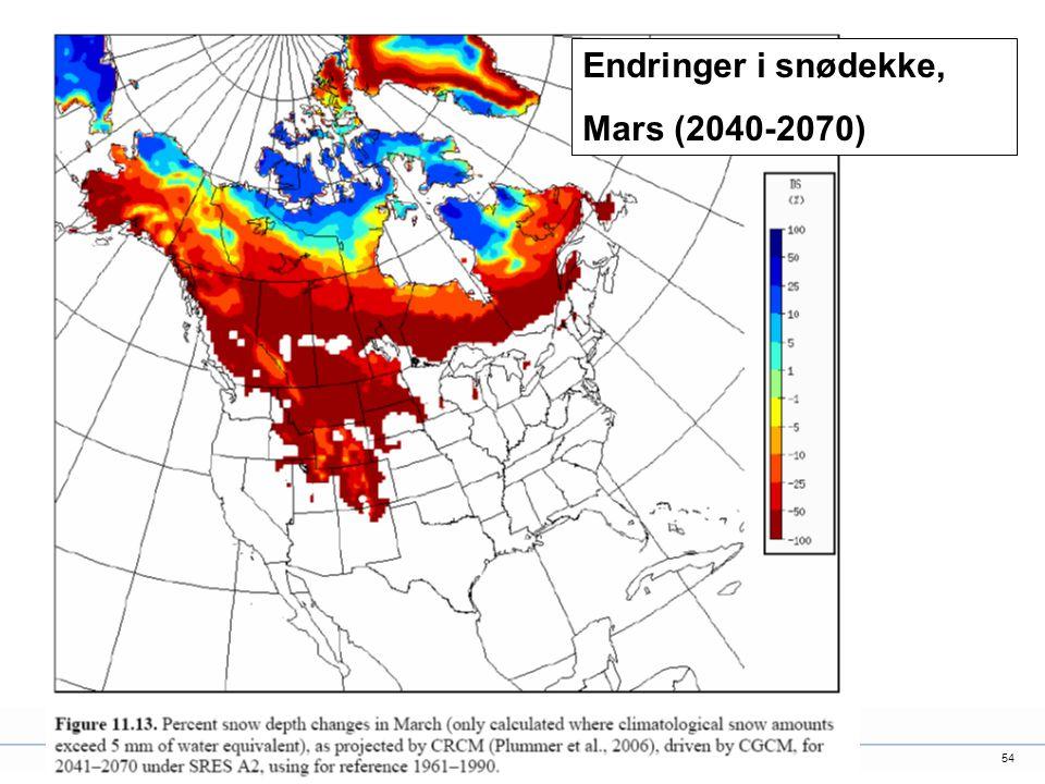 54 Endringer i snødekke, Mars (2040-2070)