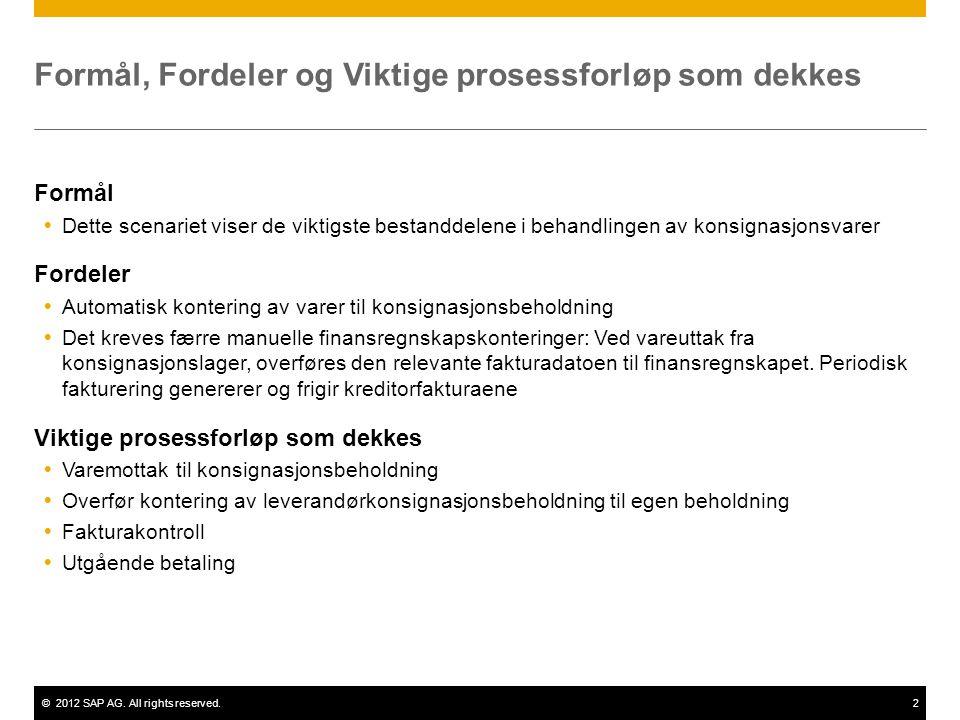 ©2012 SAP AG. All rights reserved.2 Formål, Fordeler og Viktige prosessforløp som dekkes Formål  Dette scenariet viser de viktigste bestanddelene i b